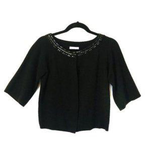 Ann Taylor LOFT Beaded Cardigan Black Sweater S